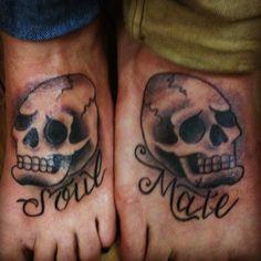 Skull tattoo. soulmate .couples tattoo.  Lizreyesliz@gmail.com  Tattoo by Liz Reyes