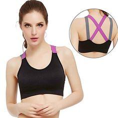 ea493eafe4 HOTï¼ Sports Yoga Vest ,Beautyvan Comfortable Fashion Women Sport Gym  Yoga Workout Bra Running Padded Fitness Tops VestNonadjusted Straps M Black    You ...