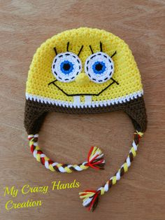 Crochet Spongebob hat, spongebob squarepants hat