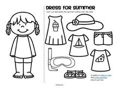 Sunny days and blue skies - bring on summer! Here are some summer theme activities , centers, printables and games to make and use when planning lessons and curriculum for preschool, pre-K and. Free Preschool, Preschool Themes, Preschool Printables, Nursery Activities, Free Printables, Seasons Worksheets, Summer Worksheets, Songs For Teachers, Clothes Worksheet