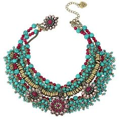 Betsey Johnson Boho Drama Collar (345 BAM) ❤ liked on Polyvore featuring jewelry, necklaces, collane, multi, beaded necklaces, betsey johnson jewelry, retro necklace, sparkly necklace and bohemian jewelry