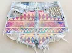 shorts, studded, aztec, summer, hipster, high waist - Wheretoget