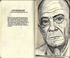 Tim Clary. A sketch of a mugshot for Vito Genovese, as well as some history on the man.