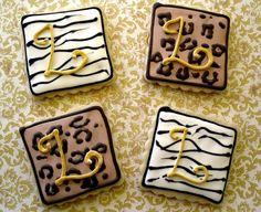 Animal Print Monogram Cookies Leopard Zebra Party Favors Birthday Wedding Shower