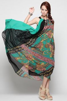 Dress crafted in chiffon, featuring round neck, sleeveless styling, print to main, in ankle length cut.$102