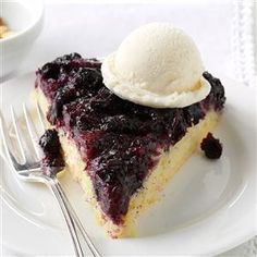 Blueberry Upside-Down Skillet Cake Recipe -Living in Maine, I am lucky to have an endless amount of wild blueberries. This recipe's similar to a pineapple upside-down cake. It's easy, light and also great with cranberries. —Nettie Moore, Belfast, Maine