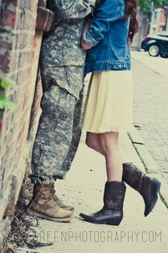 Military girlfriend: Sara green designs and photography! Military wife, army girlfriend, army wife, army engagement.