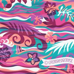 'Tropical Blooms' by Creative Doodlez from Tropical Fusion Blog-hop 2014 collection. http://creativedoodlez.blogspot.ca/2014/01/tropical-fusion-surface-pattern-design.html