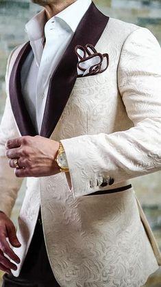 New Arrival Groomsmen Ivory Groom Tuxedos Shawl Brown Lapel Men Suits Wedding/Prom Best Man Blazer ( Jacket+Pants+Tie ) - Männerkleidung - Mens Suit Vest, Mens Suits, Zoot Suits, Suit Men, Dress Suits For Men, Men Dress, Wedding Men, Wedding Suits, Wedding Tuxedos