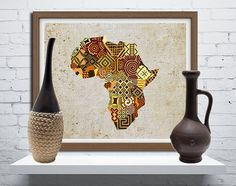 African Map Art African Print Map Decor African Wall by iQstudio