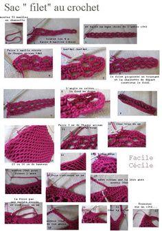 Crochet edging patterns filet ideas for 2019 Filet Crochet, Crochet Diy, Crochet Bag Tutorials, Crochet For Beginners, Crochet Edging Patterns, Crochet Stitches, Patron Crochet, Baby Girl Crochet, Filets