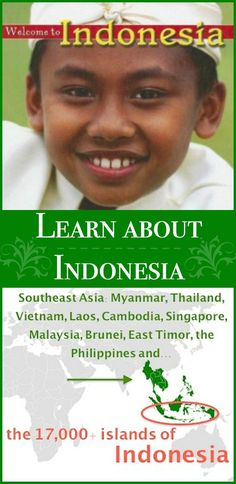 Indonesia is a fascinating country in Southeast Asia, with islands! Learn about Indonesia with your kids: the island nation that has the largest population in the world. Teaching Tools, Teaching Kids, Kids Learning, Learning A Second Language, Global Awareness, Kids Around The World, World Geography, Fiction And Nonfiction, Southeast Asia