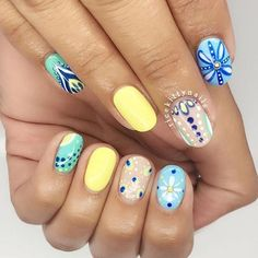 Bright and beautiful tile-inspired #nailart by @ricekittynails. Thanks for tagging #nailsmagazine! #summernails #floralnails #gelnails #shortnails #tileart