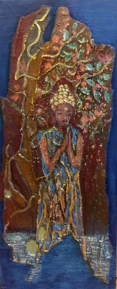 Buddha On Sycamore Bark, 2018. oil on sycamore bark mounted on wood.