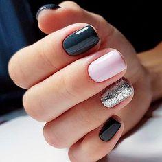 Sparkle Accent Nails Nails - Sparkle accent nails – funkelnde akzentnägel – ongles d'accent scint - Glitter Accent Nails, Sparkle Nails, Gold Nails, Pink Nails, Silver Glitter, Black Sparkle, Classy Nails, Trendy Nails, Dark Grey Nails