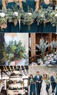 Navy Blue Wedding Theme, Beach Wedding Colors, Winter Wedding Colors, Navy Blue Weddings, Wedding Colors Green, Winter Themed Wedding, Summer Wedding Themes, Emerald Wedding Theme, Navy Spring Wedding