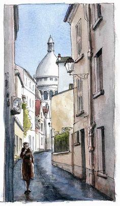 La rue Saint Rustique à Montmartre  par un Urban Sketcher