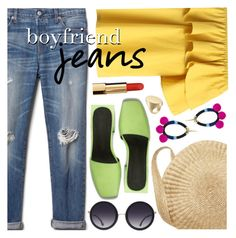 """""""Boyfriend Jeans"""" by ivansyd ❤ liked on Polyvore featuring Chicwish, Gap, Alice + Olivia, Armitage Avenue, Maison Margiela, boyfriendjeans and offshouldertop"""