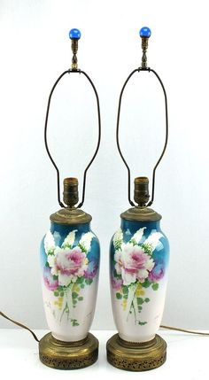 Antique Victorian Handpainted Blue & Roses French Limoges Porcelain Table Lamps