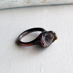 MIDWEST ALCHEMY || Ring Druzy Copper Geode Agate Gem Stone Sugared Grey Brown Red Crystal Artisan Handmade