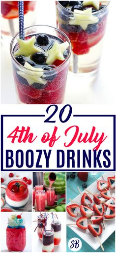 Best of July Boozy Drinks - patriotic cocktails, jello shots, and more for the best of July party ever! Holiday Drinks, Party Drinks, Fun Drinks, Holiday Fun, Holiday Recipes, Drink Recipes Nonalcoholic, Non Alcoholic Drinks, Cocktails, Great Recipes