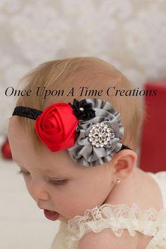 Simply Stunning Christmas Headband - Baby Girl Photo Prop Satin Bow - Dressy Silver Grey, Black & Red Little Girl's Holiday Headband
