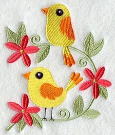 Adorable birds, surrounded by colorful flowers machine embroidered quilt blocks