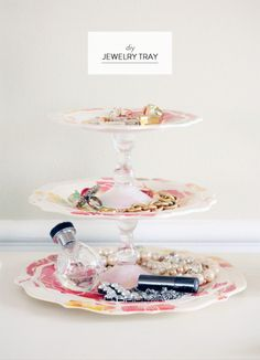 scissorsandthread:  DIY Jewelry Tray | Style Me Pretty If you're like me, at the end of the day your jewelry ends up being put wherever it g...