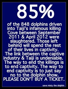 85% of the 848 dolphins driven into Taiji's infamous killing Cove between September 2011 & April 2012 were slaughtered. Those left behind will spend the rest of their lives in captivity. The link between the captive industry and Taiji is undeniable. The way to end the killings is to end captivity. The way to end captivity is to just say no to the dolphin show. PLEASE DON'T BUY A TICKET. @Sea Shepherd Conservation Society  #Tweet4Taiji #defendconserveprotect…