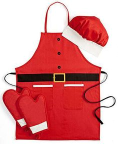 For your Santa in training, an adorable apron, oven mitt and hat set from the Martha Stewart Collection
