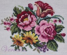 Flower preworked in wool floral needlepoint canvas 15 by 15 Cross Stitch Bird, Beaded Cross Stitch, Cross Stitch Flowers, Cross Stitching, Embroidery Patterns Free, Crewel Embroidery, Cross Stitch Embroidery, Cross Stitch Patterns, Needlepoint Canvases