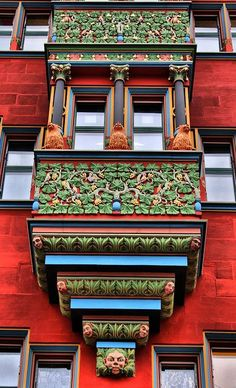 Beautiful colorful Windows-Balcony of Town Hall in Basel, Switzerland. Beautiful Architecture, Beautiful Buildings, Art And Architecture, Architecture Details, Beautiful Places, Residence Architecture, Windows And Doors, Red Windows, Arches