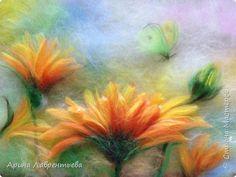Картина панно рисунок Валяние фильцевание Картина из шерсти Календула  Шерсть