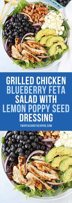 Grilled Chicken Blueberry Feta Salad with avocado, almonds, red onion, and a simple lemon poppy seed dressing