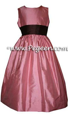 Flower Girl Dresses in Woodrose Pink and Burgundy by Pegeen