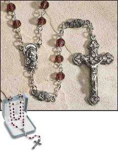 """22.5"""" Long - Ave Maria June (Light Amethyst) Birthstone Rosary - 6mm Crystal Bead - 1.75"""" Crucifix - Features Rose-shaped Our Father Beads - Gift Boxed by Milgros, http://www.amazon.com/dp/B007FPRDKS/ref=cm_sw_r_pi_dp_Tv3Dpb0JEG6GV"""