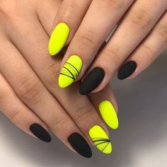 Neon Yellow Nails, Neon Nails, Swag Nails, Long Nail Designs, Nail Art Designs, Nail Drawing, Summer Gel Nails, Romantic Nails, Mauve Nails