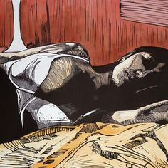 #linoprint #handcoloured In bed with her thoughts group show at galleryred #lino #rowden #woman #moody #artwork #light #mrartymark #artistproof #reliefprint #bed #print #carving #graphicchemicals #muse #bedroom #artist #artistprint #watercolour #mrartymark #artistmodel Unique print available from #galleryred #sydney