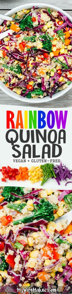 An Asian inspired Rainbow Quinoa Salad recipe bursting with healthy colors! Peppers, Corn, Baby Broccoli, Red Cabbage, Carrot and Quinoa, tossed in a Tahini Ginger Dressing. #rainbow #recipe #vegan #quinoa #glutenfree #tahini #ginger #healthy #simple #food
