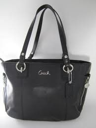 Authentic Coach Black Leather Gallery East West Tote Bag F17108: Shoes