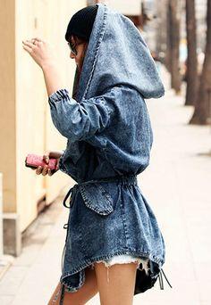 Loose Fit Oversized Hood Belted Washed Denim Jacket Coat