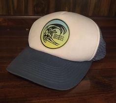 30749236 VTG O'Neill Triple Stack Trucker Snapback Hat Cap 70s 80s Light Sky Blue  White