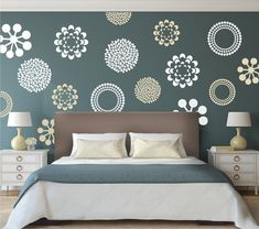 Modern Flower Bedroom Wall Decals Stickers Murals, Removable Bedroom Decals, Floral Decals For Bedro Bedroom Wall Designs, Wall Decals For Bedroom, Bedroom Murals, Bedroom Decor, Bedroom Stickers, Modern Wall Decals, Design Bedroom, Bedroom Bed, Bedrooms
