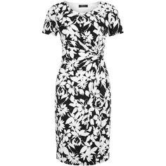 Precis Petite Regatta Floral Print Dress, Black/White ($70) ❤ liked on Polyvore featuring dresses, petite, floral shift dress, floral dress, midi dress, mini dress and short sleeve maxi dress