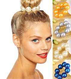 Silver Gold Pearl Hair Band Rope Scrunchie Ponytail Holder Hair Accessories