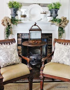 Spring Mantel - those burlap bows are absolutely gorgeous, as is the milk glass..oh I just love all of it :) Living Spaces, Living Room, Cottage, My Dream Home, Home And Living, Beautiful Homes, Family Room, Sweet Home, New Homes