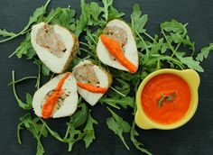 Chorizo Stuffed Chicken Breasts with Red Pepper Sauce.