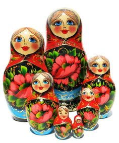 Poppies 7 Piece Russian Matryoshka Doll