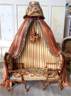 Maritza Moran - chaise upholstered in antique petite point with handmade working cherub chandelier Victorian Dolls, Antique Dolls, Miniature Furniture, Dollhouse Furniture, Sewing Room Decor, Vintage Dollhouse, Miniature Dolls, Miniature Houses, Miniture Things