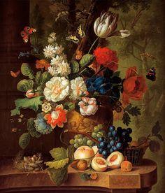 Jan van Os : Flowers c1780s Giclee Fine Art Print door Renfields
